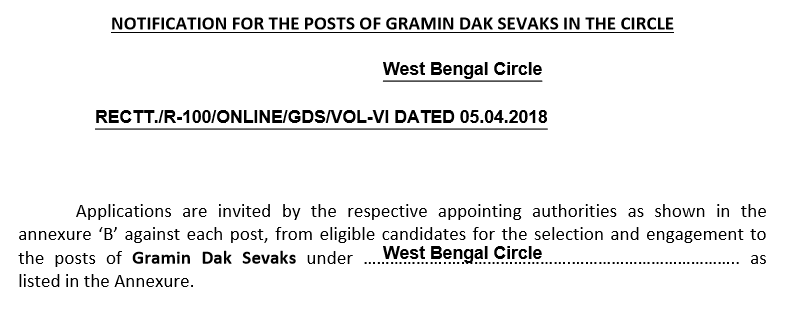 WB West Bengal Circle GDS Recruitment / JOB For 5778 Post @ appost.in 1