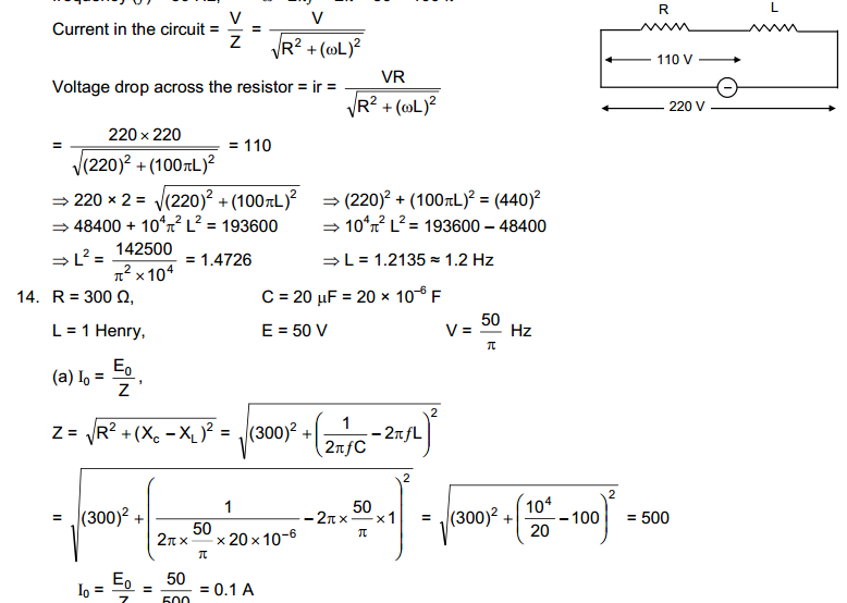 Chapter 39 : Alternating current Solution HC Verma Concept Of