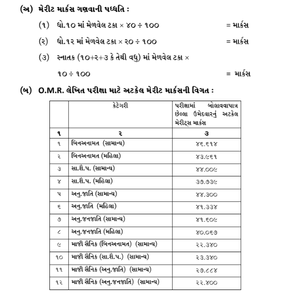 gsrtc merit calculation