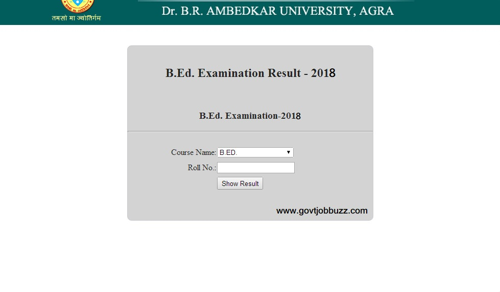 agra university result 2018 bed