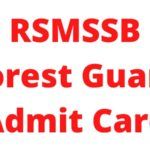 RSMSSB Forest Guard Admit Card 2021: Exam date 3
